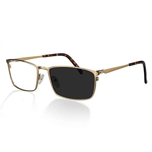 HQMGLASSES Lupe Metall Vollformat Lesebrille, intelligente automatische Farbwechsel Federscharnier Edelstahl Sonnenbrille, Farbwechsel für Zwei Benutzer, geeignet für Männer,Gold,+1.5