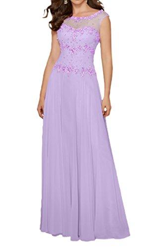 Milano Bride Charment Lang Chiffon Abendkleider Festkleider Brautmutterkleider mit Perlenstickerei Lilac