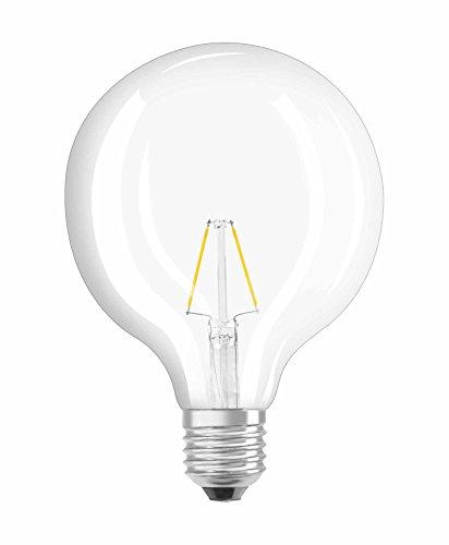 25w Klar Globe (Osram LED Star Classic Globe Lampe, in Ballform mit E27-Sockel, nicht dimmbar, Ersetzt 25 Watt, Filamentstil Klar, Warmweiß - 2700 Kelvin, 1er-Pack)