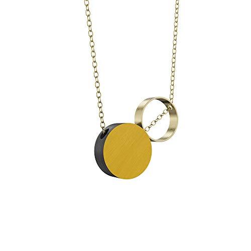 Grundled | Komparativ - Ocker - Mustard| Halskette mit Holz Anhänger | Kettenlänge 75 cm | vergoldet
