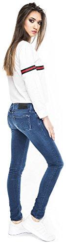 1cae69b29a0f Crop Sweater Cropped Top Damen Stripes Sweatshirt bauchfrei Streifen  Oberteil Logo Weiß ...