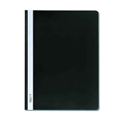 Falken Plastik-Schnellhefter aus PP-Folie für DIN A4 kaufmännische Heftung schwarz Hefter ideal für Büro und Schule