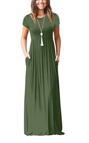 ZIOOER Damen Casual Lose Maxikleider Kurzarm Kleider Lange Kleid mit Taschen Grün XL Grün Abend Kleid