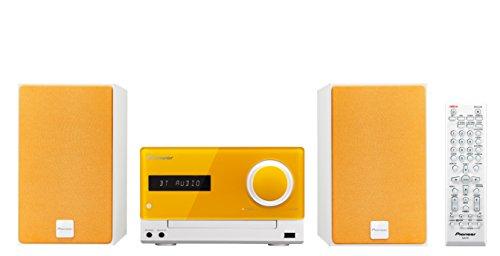 Pioneer X-CM35BT(D) Micro HiFi Anlage (CD, MP3/WMA, FM/AM Radio, 2 x 15 W Ausgangsleistung, Lautsprecher, Bluetooth, NFC, Musik streamen, App, USB/Audio in, iPhone Halterung), Orange/Weiss