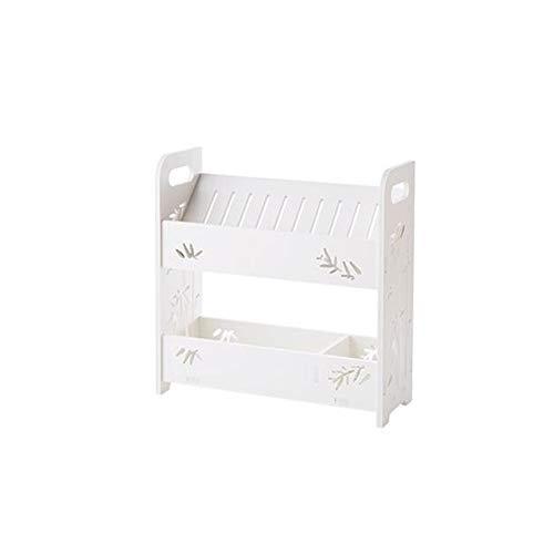 JCNFA Waschtisch-Tischplatte 2-lagiges Lagerregal Schräge Abschnitt Kosmetisches Regal Badezimmer (Farbe : Weiß, größe : 13.77 * 5.43 * 14.17in) - Professionelle Bücherregal Schrank
