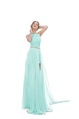 Damen Ballkleid Brautjungfernkleid Neckholder Rückenfrei Abendkleid Cocktailkleid mit Strass...