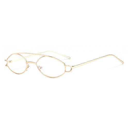 YMTP Vintage Oval Brillenfassungen Für Männer Silber Gold Metall Runde Brillen Rahmen Für Frauen Klein, Gold Mit Klar