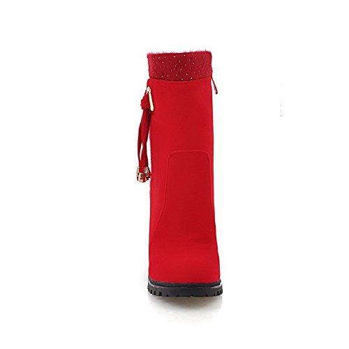 VogueZone009 Damen Reißverschluss Hoher Absatz Niedrig-Spitze Stiefel, Rot, 35