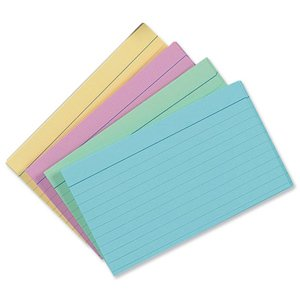 silvine-record-cards-127x77mm-ruled-pack-of-100-in-assorted-colours