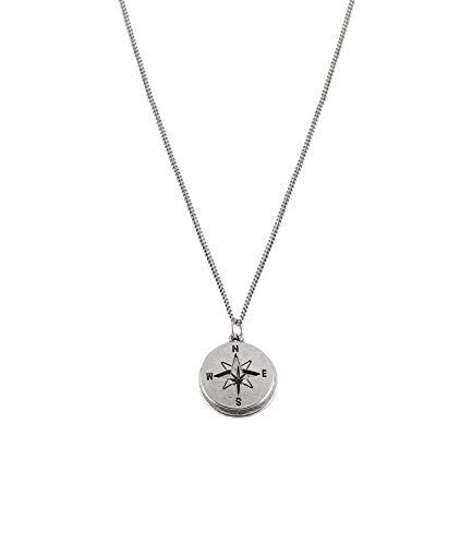 SIX Silberfarbene Halskette mit 2 Anhängern mit Stern, Kompass, Kompassrose für Herren und Damen, Länge: 60 cm (275-883)