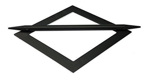 Tilldekor Raffspange RAUTE, Metall, schwarz, Gardinenspange mit Befestigungsstab