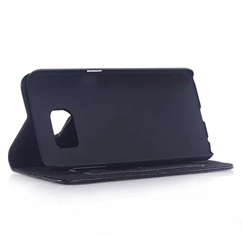 Samsung Galaxy S6 Case,authentische Lederetui Stehen Bei Kartenschlitz Magnetische Stil Lederetui Für Samsung S6 ( Color : Brown , Size : Samsung S6 ) Black
