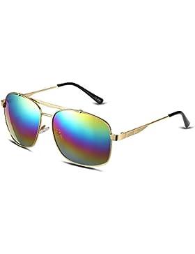 NYKKOLA mujeres moda twin-beams clásico marco de metal colorido espejo gafas de sol polarizadas 100% protección...