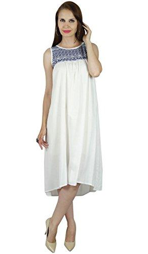 Bimba Frauen sleeveless Rayon weißes Kleid des Sommers beiläufige kurze tunic- eigene Kleidung tragen Mehrfarben