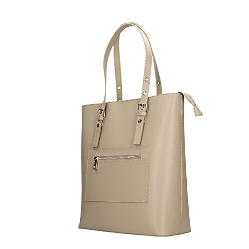 Chicca Borse Borsa a tracolla in pelle 36x38x14.5 100% Genuine Leather Fango