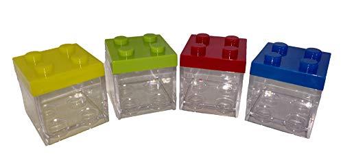 10 x scatolina portaconfetti plexiglass mattoncini costruzioni block bianco rosa celeste (assorititi ( verde-giallo-blu-rosso))