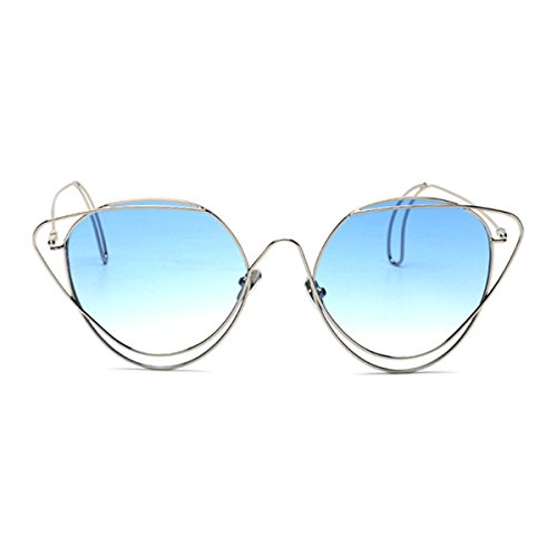 Sunyan Sonnenbrille Frauen super leichten Steigung Marine Film Farbe Sonnenbrille, silbernen Rahmen Farbverlauf blau C 21.