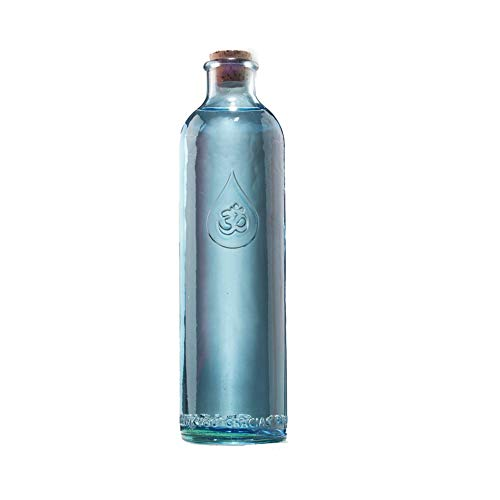Wasserflasche Om Zeichen 1,2l 30cm aus Glas Blau Korkdeckel Broschüre | Glasflasche Samen des Lebens | Trinkflasche Goldener Schnitt | Flasche Karaffe Wasserenergetisierung | Esoterik