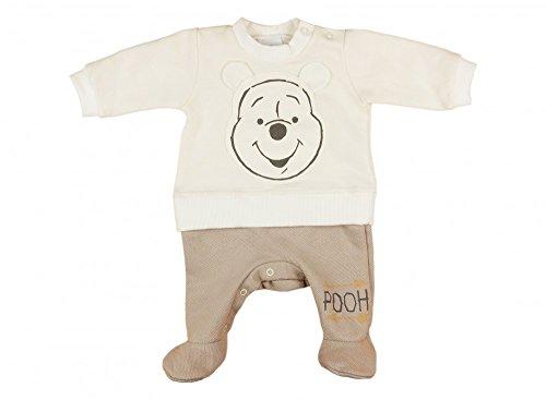 (Jungen/Mädchen Baby-Strampler Winnie The Pooh LANG-ARM mit Füßchen, GEFÜTTERT, Spiel-Anzug mit Ohren, Baby-Schlafanzug, Grösse 56, 62, 68, 74 in beige-braun und beige-rosa Farbe Beige, Größe 74)