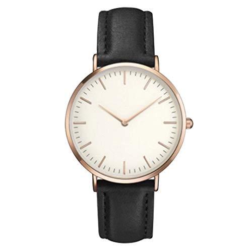 Hemore Damen-Armbanduhr Casual Edelstahl Quarz Armbanduhr Klassische Analog Uhr mit Batterie Rotgold Zifferblatt Schwarz Lederband