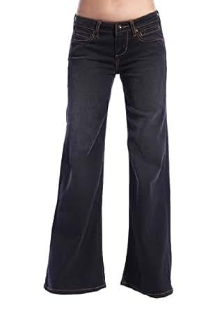 Stitch's Women's Wide Leg Jeans Flared Black Denim Comfort Fashion Pants 28
