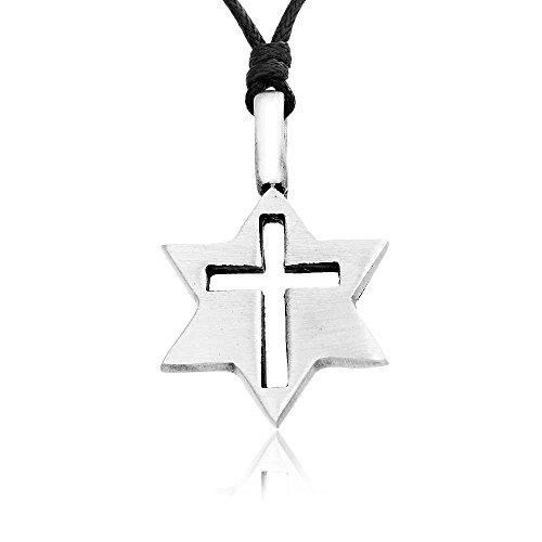 Llords Schmuck Halskette mit dem Stern von David und christlichem Kreuz Anhänger klassisch, feinster Zinn Metall (Stern David Modeschmuck)
