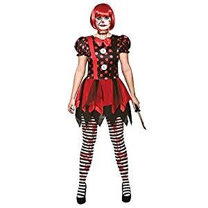 Horror Clown - Ladies Adult Costume S (UK:10-12) (Red Tutu Kostüm Idee)