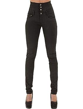 CHIYEEE Mujer Jeans Pantalones Elásticos de Cintura Alta Straight Denim Pants