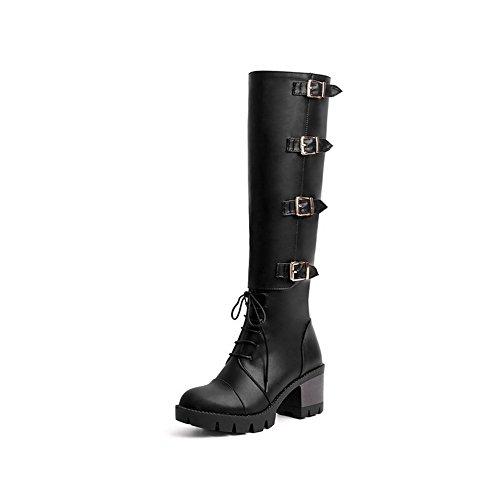VogueZone009 Damen Reißverschluss Blend-Materialien Mittler Absatz Rund Zehe Stiefel Schwarz
