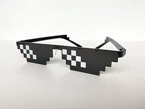 Thug Life Glasses Mosaic Masculine 8 bits Style Gafas de Sol Pixel Trata de ?l Eyewear para Hombres Mujeres Sun Shading