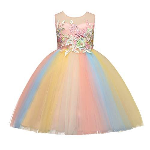 Livoral Mädchenpartykleidkleinkindbabykindmädchenblume Tulleprinzessin-Kleiderpartei Formale Kleidung(Mehrfarbig,3-4 Jahre)
