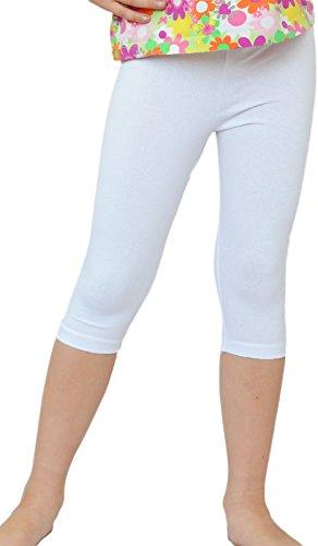 Kinder / Mädchen 3/4 kurz Leggings aus Baumwolle (128, Weiß)