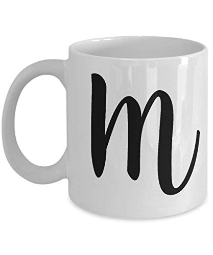 Letter M Monogram - Cute Novelty Monogrammed Coffee Cup - Perfect Personalized Bridal Shower Or Wedding Gift for Women and Men - Unique Name Gift Idea for Tea Lovers - 11 oz ()