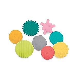 LUDI Juego de 8 Bolas de Despertar   Martes   Bolas de Despertar variadas   Diferentes Formas y Colores   Plástico Blando   A Partir de los 6 Meses