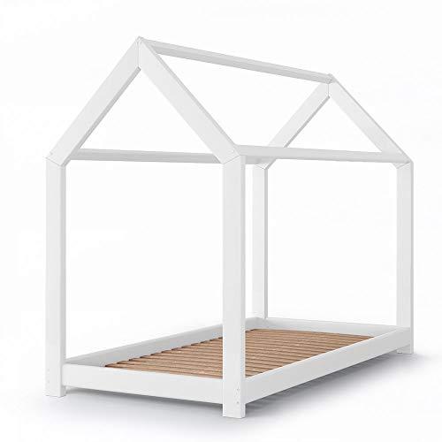 Vicco Kinderbett Kinderhaus Jugendbett Kinder Bett Holz Haus Schlafen Spielbett Hausbett - lackiertes Massivholz - kindgerechte Verarbeitung (Weiß, 90 x 200 cm)