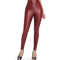 FITTOO Mujeres PU Leggins Cuero Brillante Pantalón Elásticos Pantalones para Mujer300#2 Rojo Oscuro L