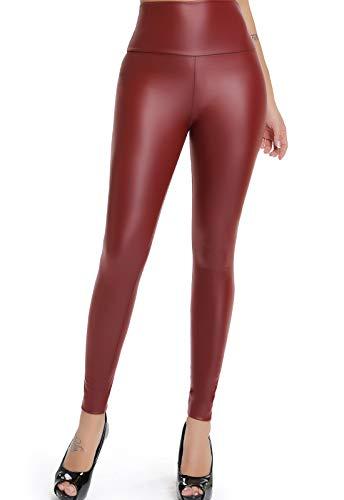 FITTOO Mujeres PU Leggins Cuero Brillante Pantalón Elásticos Pantalones para Mujer300#2 Rojo Oscuro XS