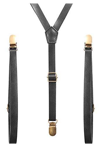 Accessoryo - einstellbar schwarzem Kunstleder dünne Hosenträger (Hosen Faux-leder-dünne)