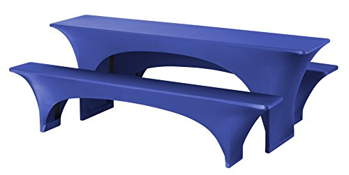 Dena 022387 Hussen-Set Fortune Stretch für Festzeltgarnitur, 90% Polyester -10% Elasthane, 220 x 50 cm, blau