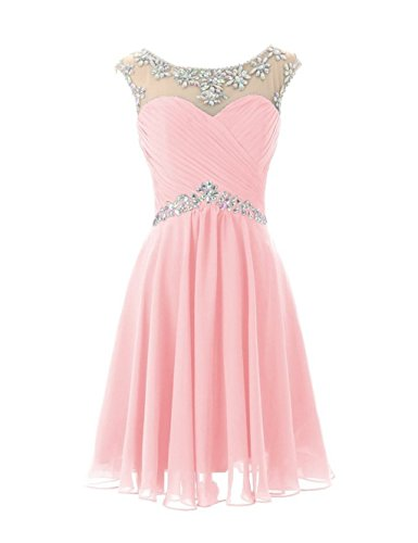 Fanciest Damen Crystal Kurz Prom Brautjungfernkleides 2016 Brautjungfernkleid Pink