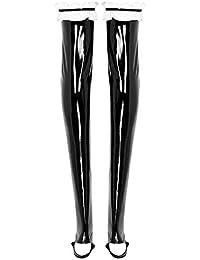 Tiaobug Damen halterlose Strümpfe mit schmalem Spitzenbund Wetlook Lack Leder Optik Clubwear Party Cosplay Kostüm Gothic Punk Zubehör
