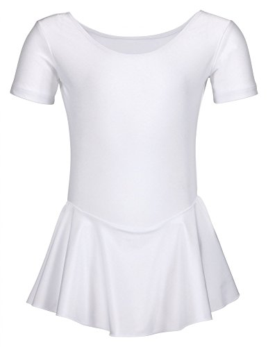 tanzmuster Kinder Ballettanzug Ballett Trikot Marina mit Röckchen. Hübsches Ballettkleid in weiß, Größe:164/170