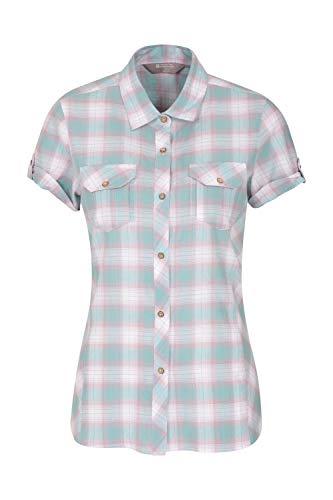 Mountain Warehouse Holiday Baumwollhemd für Damen - Kurzärmliges Oberteil für Damen, Freizeithemd, leichtes Sommerhemd, atmungsaktive Bluse - Für Reisen, Wandern Minze DE 48 (EU 50) - Safari-grün-erwachsenen-shirt