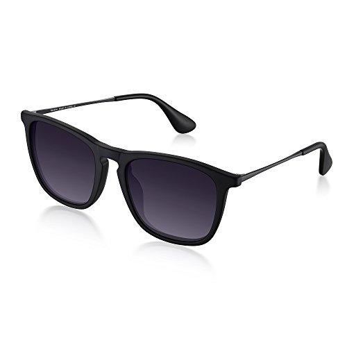 Wenlenie Sonnenbrille Herren/Damen Polarisiert, Eckige Sonnenbrille Matt Schawrz W4187