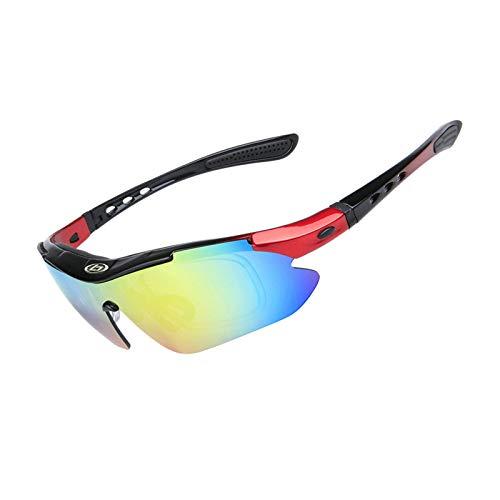 Anyeda Sportbrille Sonnenbrille Damen TPU+PC Brille Goggles Men Schwarz Rot