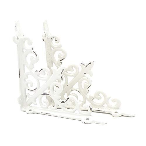 Regalträger - Wandkonsole Lilie antik weiß aus Gusseisen