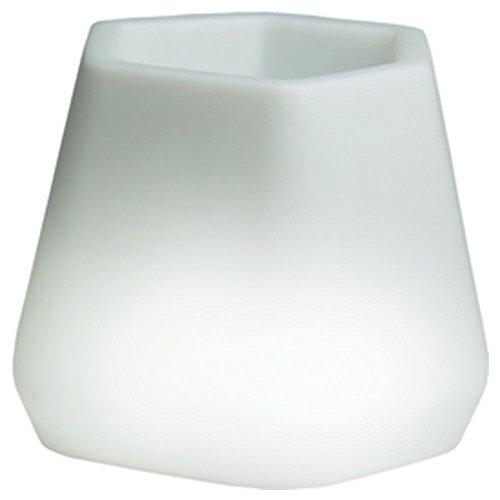 hydroflora 63005305 Maceta luminosa LED Nicoli OPS Small Light 40 x 35 x 27 cm, ideal para entornos interiores, blanco cálido