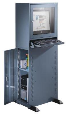 QUIPO Computerschrank - Standardausführung - blaugrau - Computerschrank Computerständer EDV-Möbel EDV-Schrank LAN-Schrank PC-Schrank PC-Station Schrank Workstation