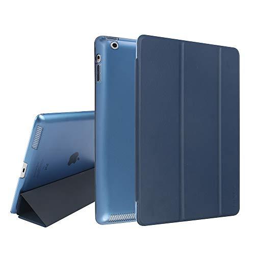 MTRONX für Apple iPad 4/3 / 2 Hülle (9,7 Zoll) (2011 2012), Magnetverschluss Auto Schlaf/Wachfunktion, Ständer Funktion Schutzhülle, Kunstleder Stand Etui Smart Cover-Dunkel Blau(FB-DB)