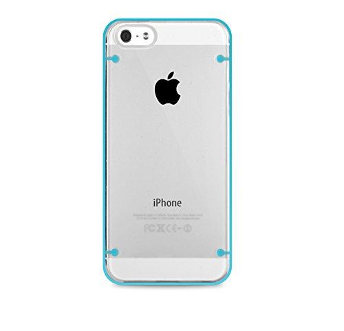 Horny Protectors® DUAL TPU Design Schutzhülle Cover Case transparent durchsichtig mit Antirutschfunktion für Apple iPhone 5 5s rosa türkis